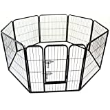 Heavy Duty Pet Dog PlayPen Puppy Exercise Play Pen Fence Enclosure Gate 8 Panels Heavy-Duty Crate Cage (Medium 80cm)