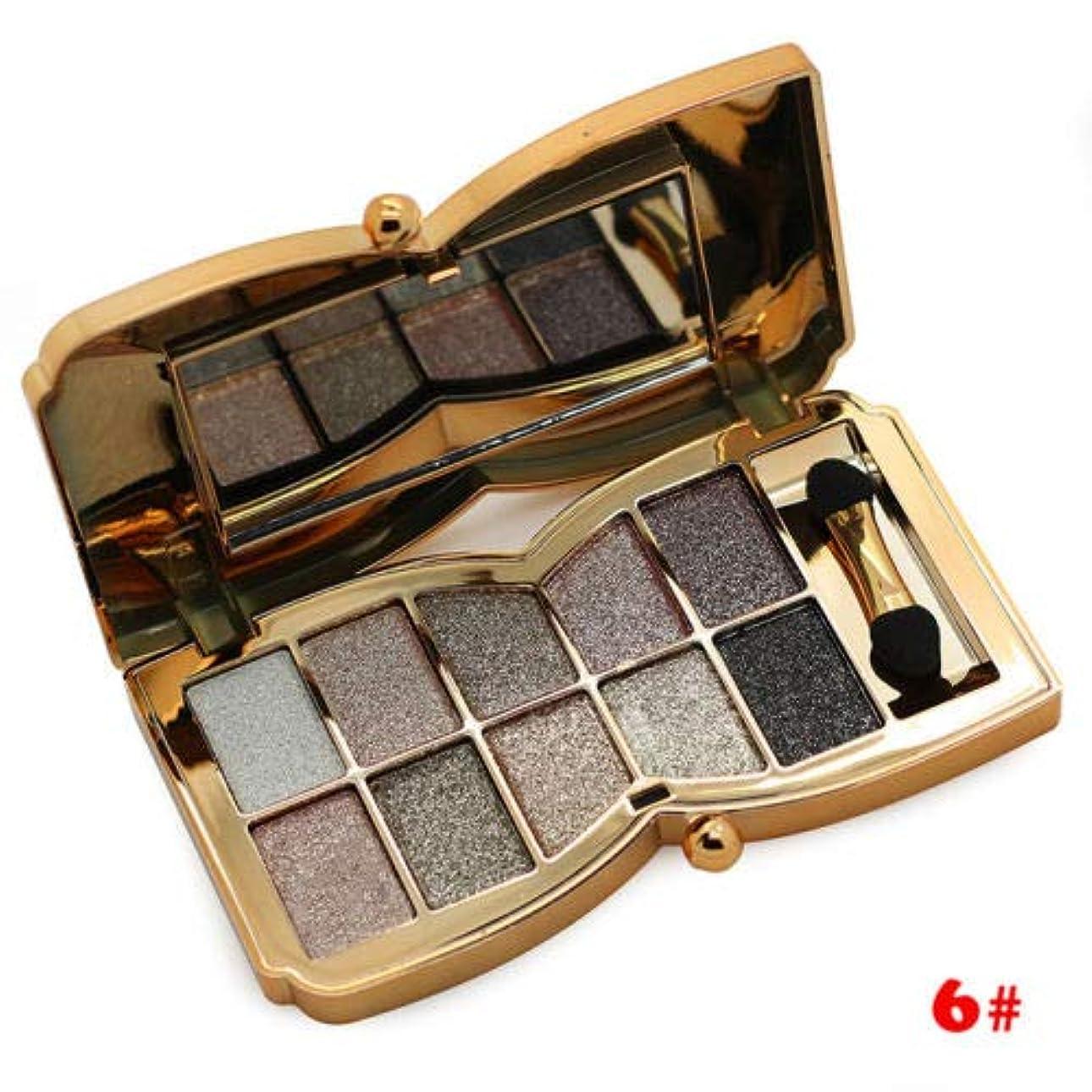 FidgetGear 10色アイシャドーグリッターアイシャドーパレットメイクアップ化粧品ミラーブラシセット 6#