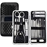 18 in 1 Manicure Pedicure Kit Nail Clipper Tools Set,TERSELY Stainless Steel Professional Nail Clipper Travel & Grooming Kit Scissor Eyebrow Tweezer Ear Pick for for Men and Women Facial