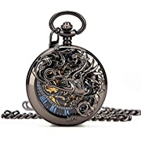Retro Mens Black Gragon Half Double Hunter Skeleton Mechanical Blue Roman Numerals Pocket Watch with Chain Box