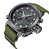 時計メンズ腕時計デジタルアナログスポーツファッションウォッチ多機能LED日付アラームレザー防水腕時計 グリーン