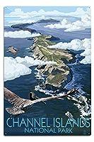 チャネル諸島、カリフォルニア–Bird 's Eye View 12 x 18 Metal Sign LANT-79929-12x18M