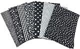 花柄 綿混紡 生地 DIY手芸用 カットクロス パッチワーク布 はぎれ 50×50cm 7枚セット (ブラック)