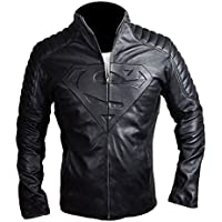 Aus Eshop Superman Smallville Man of Steel Emboss Quilted Black Motorcycle Leather Jacket