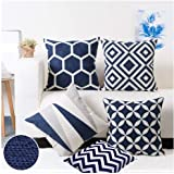 Modern Homes Dark Blue 100% Cotton Decorative Throw Pillow Case Cushion Covers 16 x 16 inches for Couch, Bed (Set of 5)