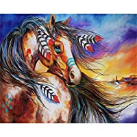 LovetheFamily コミック馬 数字油絵 数字キット塗り絵 手塗り DIY絵 デジタル油絵 ホーム オフィス装飾 40x50cm (フレームレス)