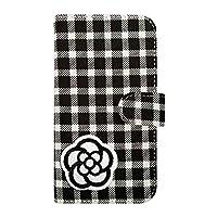 sslink LGV33 Qua phone PX キュアフォン 手帳型 ケース カメリア(ホワイト×ブラック) デコ かわいい おしゃれ ワッペン 刺繍 キラキラ (チェック02) チェック柄 千鳥柄 ファブリック 布 生地 PUレザー 合皮 ダイアリータイプ 横開き カード収納 スタンド機能 フリップ カバー