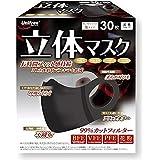 ユニフリー ブラック 立体マスク カラー 30枚入 カラーマスク 使い捨て 立体 大人用 小さめ 不織布 99%カット 三層構造 unifree