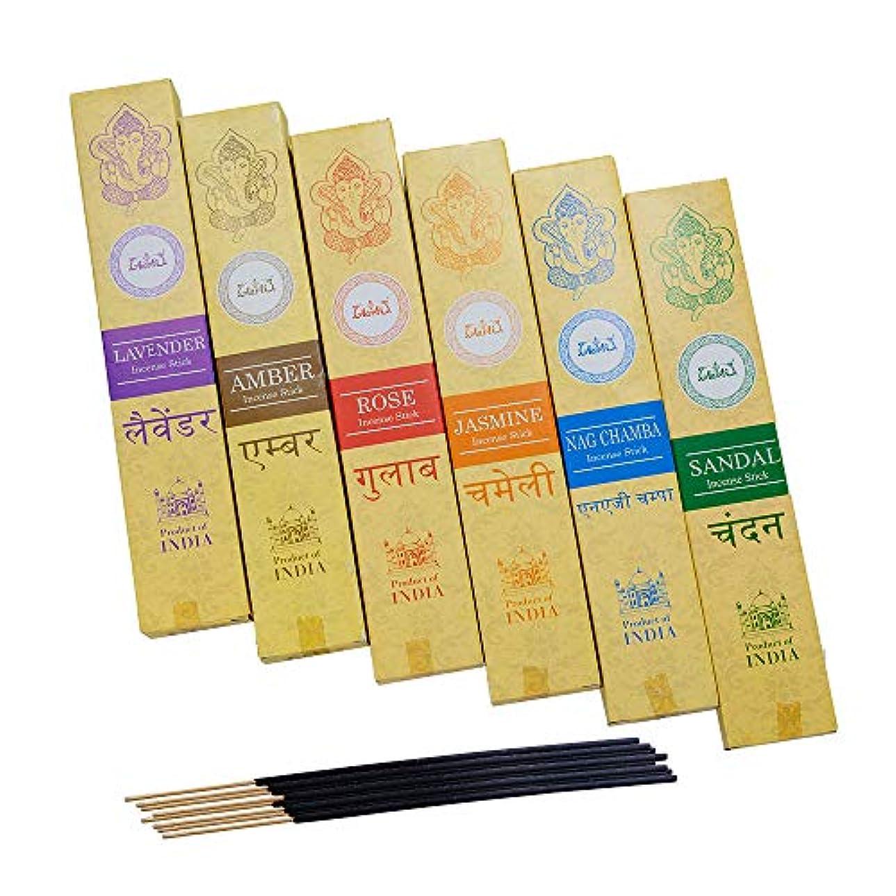 説明的のれん承認神戸アールティー インド お香 6種類 セット スティック インセンス