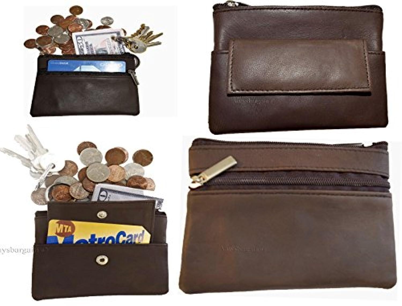 レザーチェンジパース 4個セット ジップコインケース 3ポケット財布 キーリング付き BN