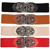 Women's Wide Buckle Belt Retro Vintage Floral Embossed Elastic Cinch Waist Belts