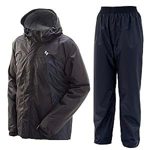 プレイン AAAパーフェクトレインスーツ 全6色 全4サイズ 上下スーツ ブラック L 防水・透湿 10,000mm/cm2 #01777-BLK-L