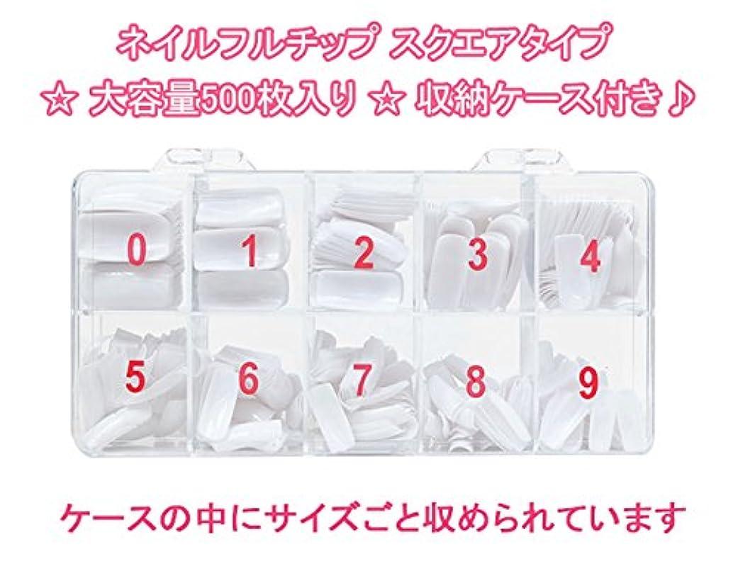 隣人賞壊すネイルフルチップ スクエアタイプ ★大容量500枚入り★収納ケース付き? (クリア)