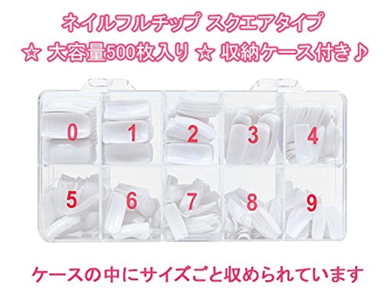 ネイルフルチップ スクエアタイプ ★大容量500枚入り★収納ケース付き? (クリア)