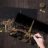 YWH DIY手作りグッズ Bright CityDIYの絵画壁画スクラッチカードゴールデンナイトビューペイントアート紙手描きホームデコレーションクリエイティブ手作りギフト、サイズ:41 * 28.7cm (色 : Color2)