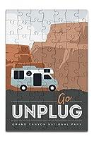 Grand Canyon National Park–Go Unplug–レトロRV ( 8x 12プレミアムアクリルパズル63ピース)
