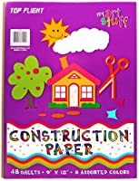 Top Flight Construction Paper, Assorted Colours, 23cm x 30cm, 48 Sheets, Polywrapped (61101)