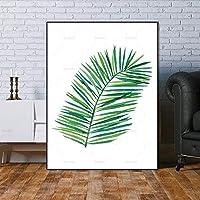 キャンバスウォールアートの絵画、Hdプリントポスター緑植物葉風景ポスター北欧現代抽象壁アートキャンバスインクジェット絵画画像用リビングルーム家の装飾60×80センチ