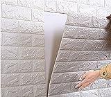 【Hilax】 3D壁紙パネル 3Dウォールステッカー 立体自己粘着シール ホワイトレンガ調 70cm×77cm DIY (② 10枚セット)