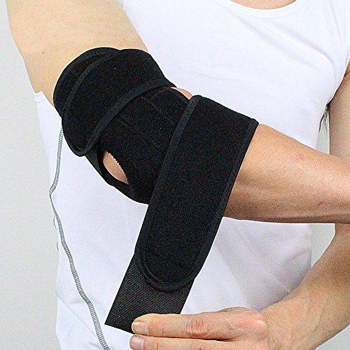 Qicuio ひじ用サポート 肘サポーター フリーサイズ 可調整 通気性良好 左右兼用 男女兼用 ブラック