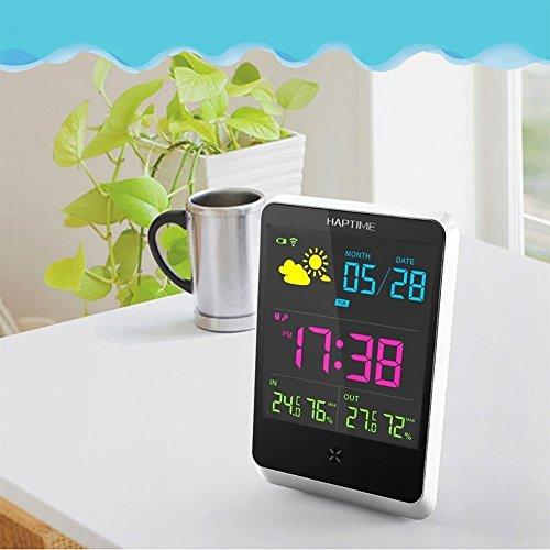 PowerLead ワイヤレスデジタル目覚まし時計大型夜間照明LCDスクリーンと温度/湿度/屋内/屋外用の天気ステーションテーブルクロック