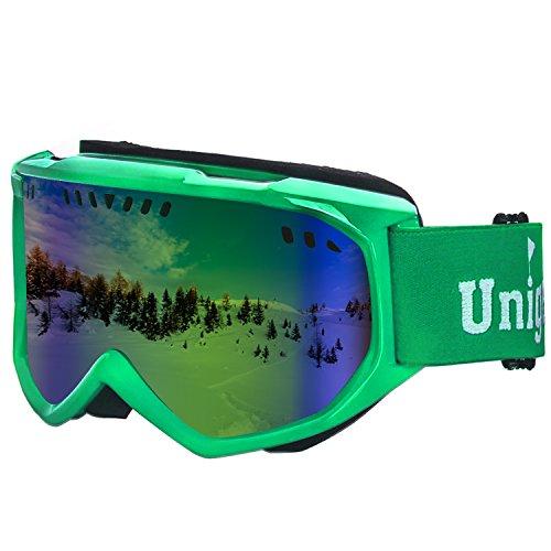 Unigear スキーゴーグル スノボートゴーグル UVカット 耐衝撃 防塵 防風 めがね対応 登山/スキー/バイク/アウトドアスポーツに全面適用 男女兼用 (グリーンレンズ VLT20%)