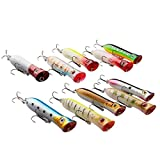 A-szcxtop 釣具 ルアーセット 10個 8cm 12g ポッパー バイブレーション リップレス ブラックバス・シーバスフィッシングやチニング・スポーニングにも最適 定番のトップウォーター