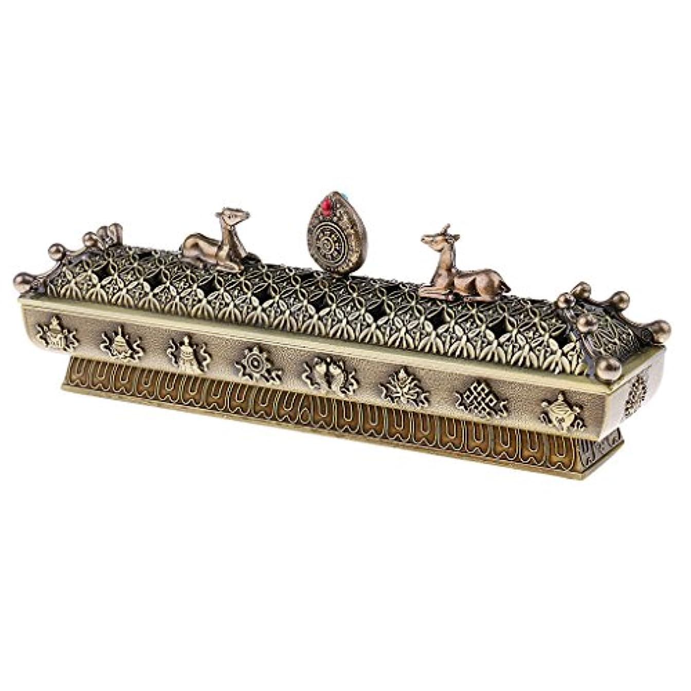 きらめく弓輪郭Fenteer 仏教 香炉 バーナー コーンホルダー ボックス ホーム オフィス テーブル 全3色  - ブロンズ