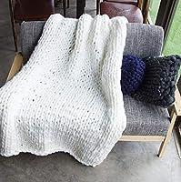 手作り 分厚い ニット 毛布, メリノ ウール ブレンド アーム ニット ブランケット 超大型 編み物 ペット ベッド 椅子 ソファ ヨガ マット 戻る-i 80x100cm