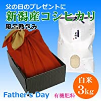 【父の日プレゼント】父の日ギフトに個性派プレゼント!新潟米 新潟県産コシヒカリ 3キロ 風呂敷包み(有機肥料)