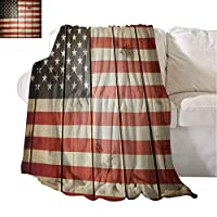 アメリカの国旗旅行毛布アメリカの国旗縦縞木製ボード市民連帯キッチュアートワーク持ち運びが簡単ブランケット青赤 150X200