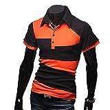【 スマイズ スマイル 】 Smaids×Smile メンズ ポロシャツ 半袖 スリム ゴルフ ウェア バイカラー (オレンジ L)