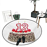 """100歳の誕生日 丸い小さなドアマット 100年のパーティー カップケーキキャンドル 抽象画 ビビッドカラーの背景 屋内/屋外 円形 エリアラグ (直径24インチ) ピンク レッド オレンジ D32""""/0.8m"""