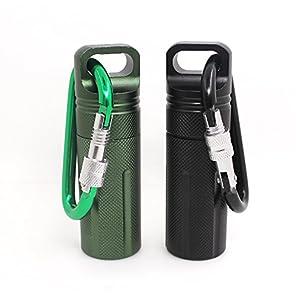 アルミ製ピル ビル カプセル ケース 2個パック SENHAI 密封 防水 小物収納ボックス携帯可能 ピルケース カラビナ 付 - ブラック、グリーン