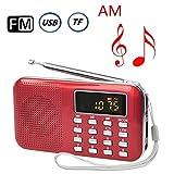 CSMARTE AM FMラジオ 超薄型ミニポケットラジオ 多機能 LEDライト Micro SD/TFカードに対応 (赤い)