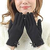 searina 手袋 レディース スマホ 対応 可愛い おしゃれ 防寒 極暖 レザー リボン ウール あったか (354) (ブラック)