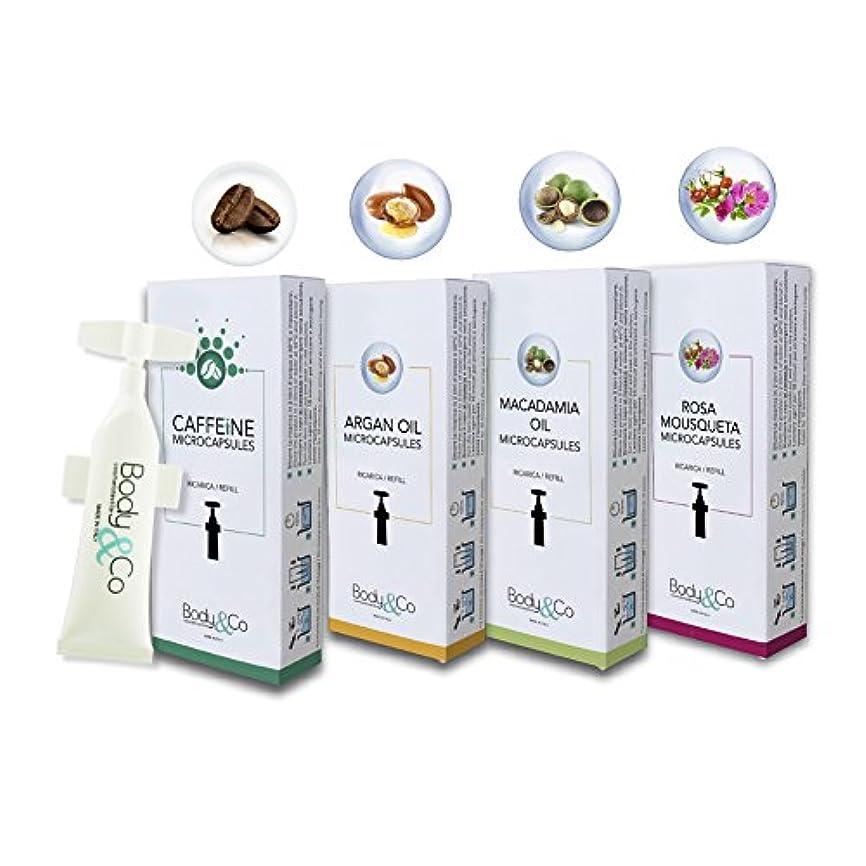 アカデミーのれん離れたBody&Co Cosmetic Mix 4 Refills 10 ml: Caffeine, Argan Oil, Macadamia Oil, Rosa Mosqueta Oil