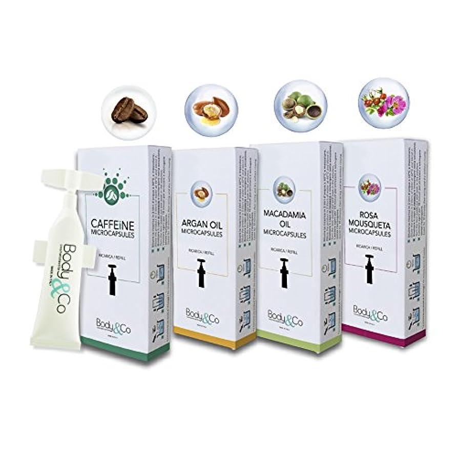 配る続ける旅Body&Co Cosmetic Mix 4 Refills 10 ml: Caffeine, Argan Oil, Macadamia Oil, Rosa Mosqueta Oil