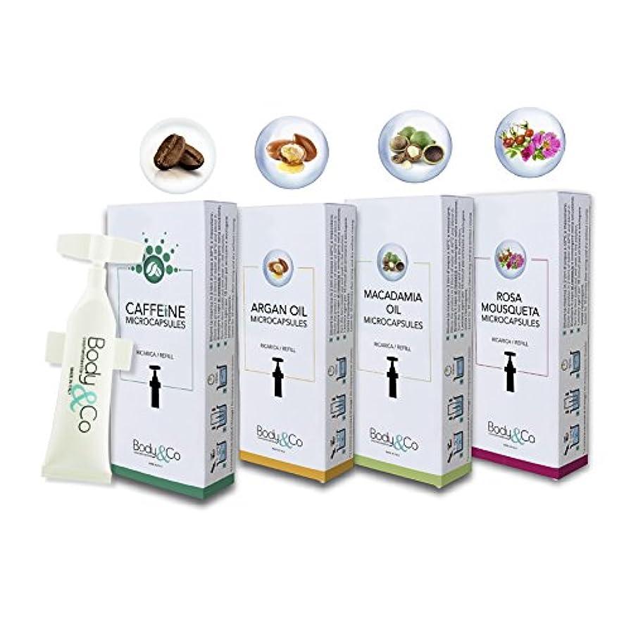疑い者かすかなビタミンBody&Co Cosmetic Mix 4 Refills 10 ml: Caffeine, Argan Oil, Macadamia Oil, Rosa Mosqueta Oil