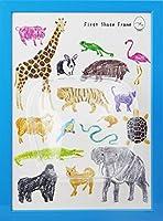 ファーストシューズフレームA4 (BLUE, Animals3)
