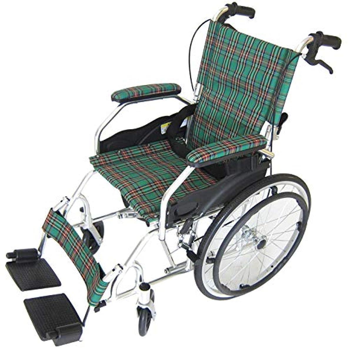 抗生物質国家トランジスタモスキー グリーンチェック 重量11.5kgの超軽量自走式車椅子!  アルミ 車椅子 脚部エレべーティング ノーパンクタイヤ 背折れ式 シートベルト付き【A103-AKG】