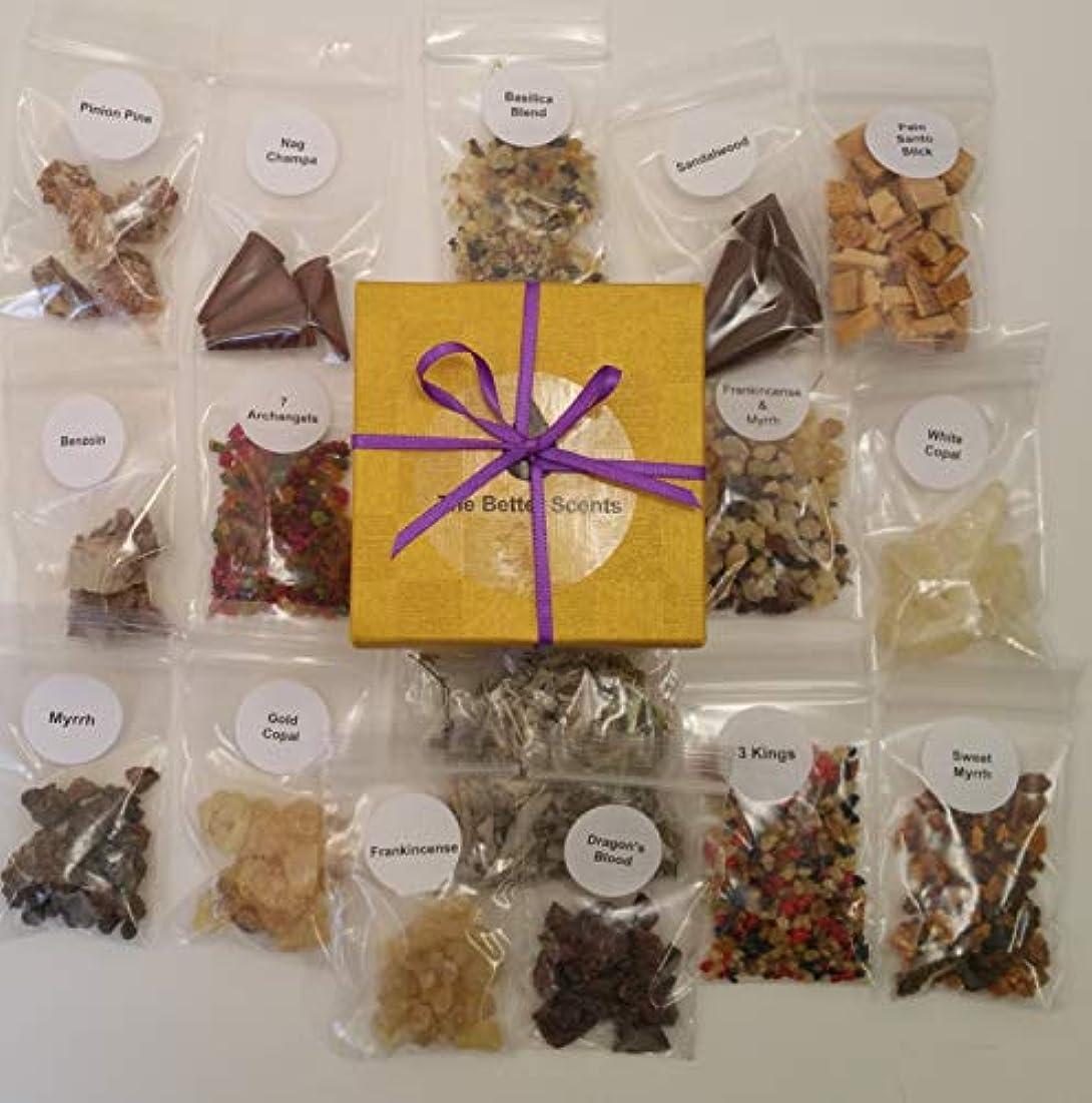 樹脂製お香 バラエティサンプラーセット 16種類の香り 1/4オンスの樹脂のサンプル16本 ハーブ 木製 高品質コーン 美しいギフトボックス入り。 すべて天然成分。 フィラーなし