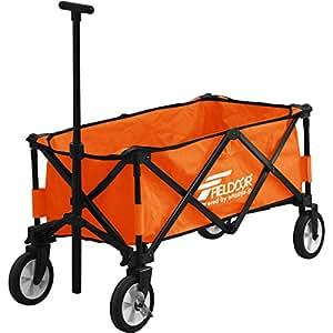 FIELDOOR マルチキャリー/折りたたみ式多用途キャリーカート オレンジ (約)幅107cm×奥行き67cm×高さ98cm 耐荷重80kg タイヤストッパー付