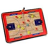 バスケットボール 作戦盤 作戦板 タクティクスボード コーチングボード ジッパーレザー木製穀物磁気 バスケットボール ストラテジーボード PUレザーカバー 軽量 ポータブルコーチのトレーニング機器援助