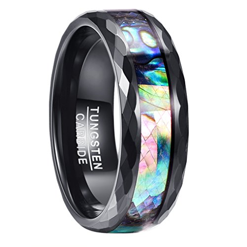 Vakki リング メンズ 指輪 アワビシェル タングステンカーバイド 幅広 8mm 結婚指輪 耐久性に優れた ファッション 平打ち カジュアル アクセサリー 男女兼用 (ハワイアンコアウッド, 19)