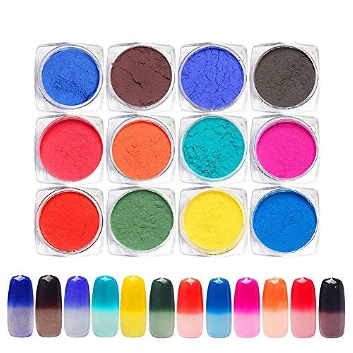 説明する征服制限12色セット 温度によって色が変わるパウダー 変色ネイルパウダー ネイルパーツ ジェルネイル ネイルアート1g入り