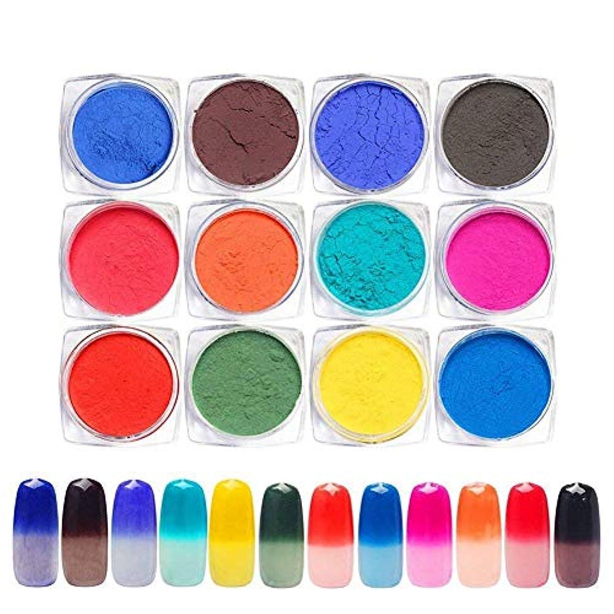 コールエゴマニア騒々しい12色セット 温度によって色が変わるパウダー 変色ネイルパウダー ネイルパーツ ジェルネイル ネイルアート1g入り