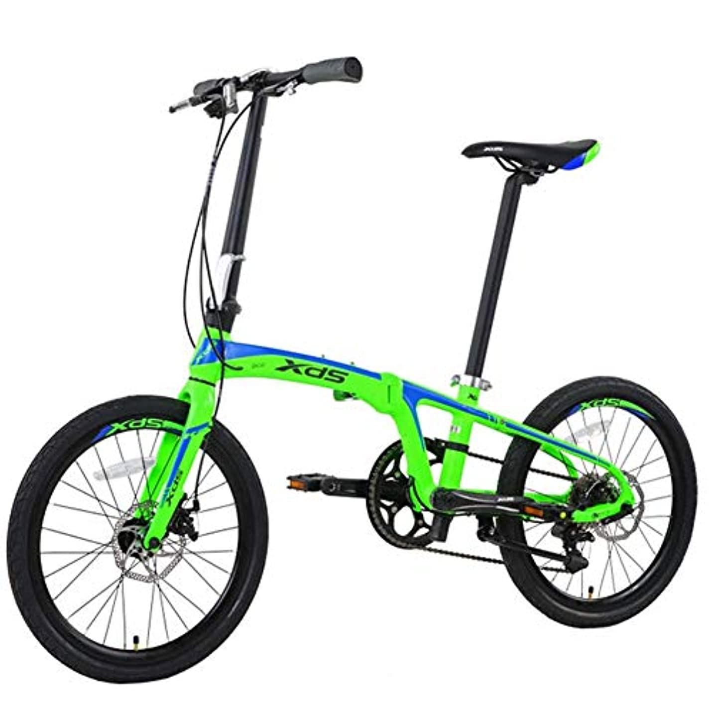 つま先突き出す気候の山20 '折りたたみ自転車、大人ユニセックス8スピードダブルディスクブレーキ軽量折りたたみ自転車、アルミ合金軽量ポータブル自転車、ブラック