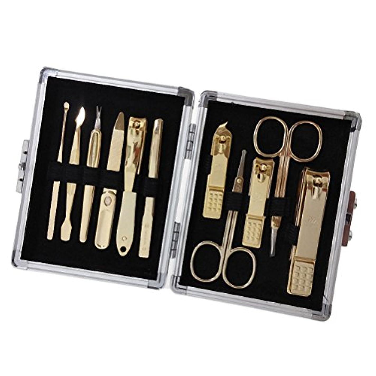 書き込みインタラクションれる【 三セブン】THREE SEVEN TS-16000 Manicure Set in Aluminum Case 三セブンアルミケースのTS 16000マニキュア セット (2.Gold_Silver1) [並行輸入品]