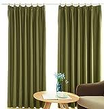 FLOWEROOM 遮光カーテン 1級遮光 ナチュラル 無地 シンプル グリーン 100cmx178cm 2枚組